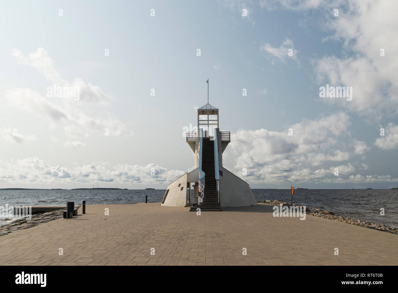 Nallikari Lighthouse in Oulu, Finland - Stock Image