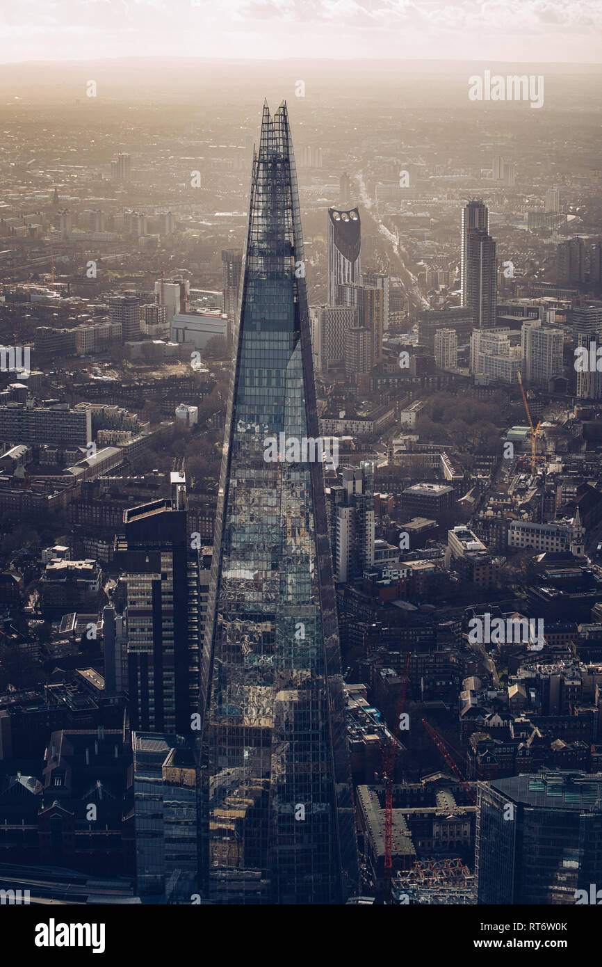 An aerial view of the Shard in London, UK. - Stock Image
