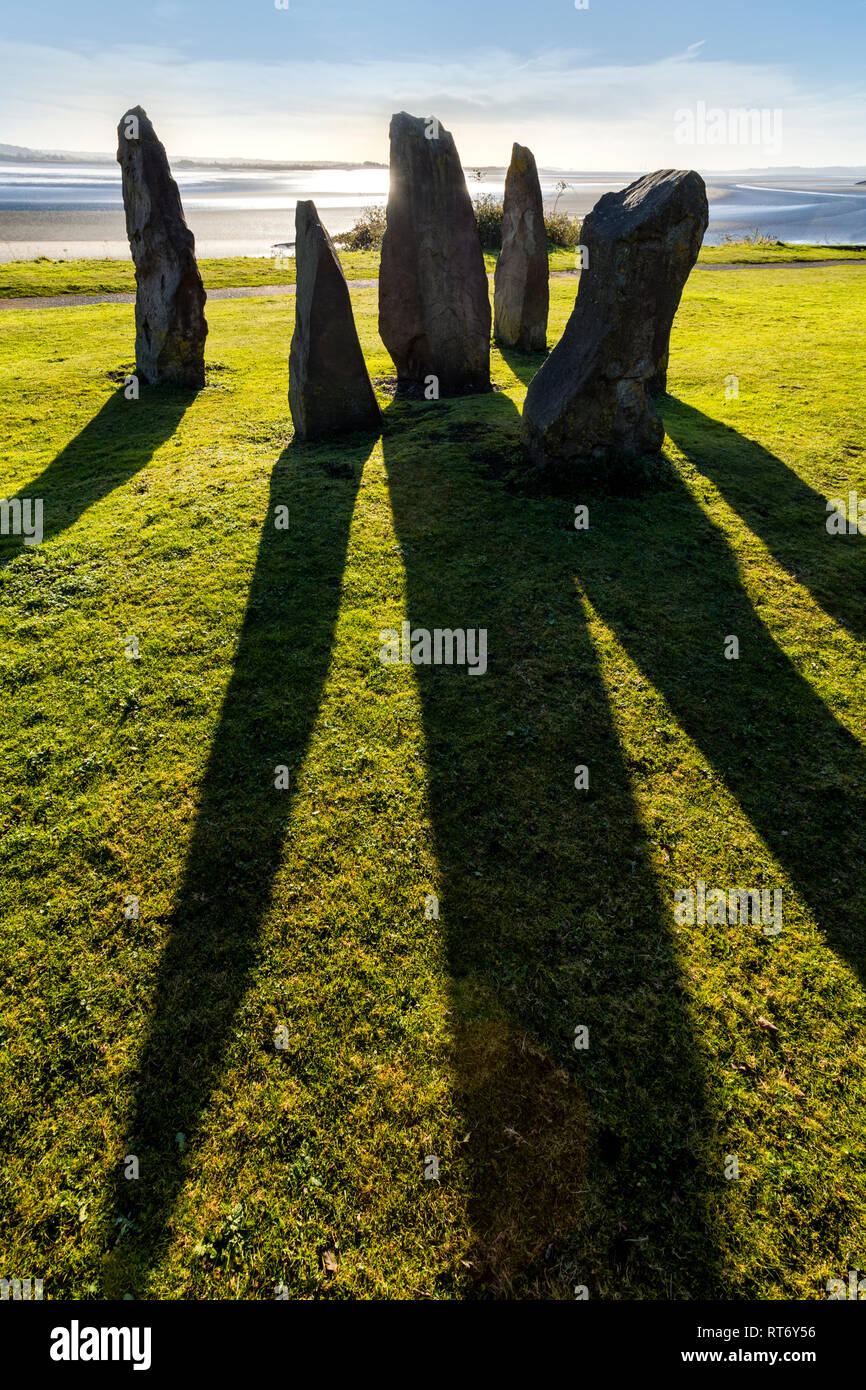 Standing stones on the banks of the River Severn at Lydney, Gloucestershire. - Stock Image