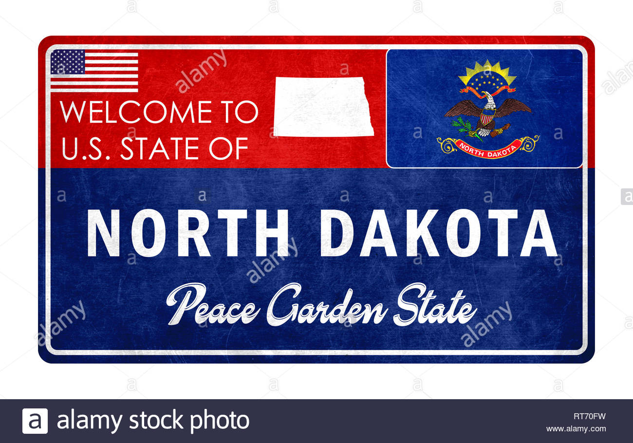 Welcome to North Dakota - grunde sign - Stock Image