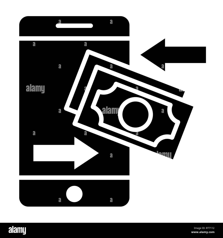 Transaction Icon, Vector Illustration, Finance Glyph - Stock Image