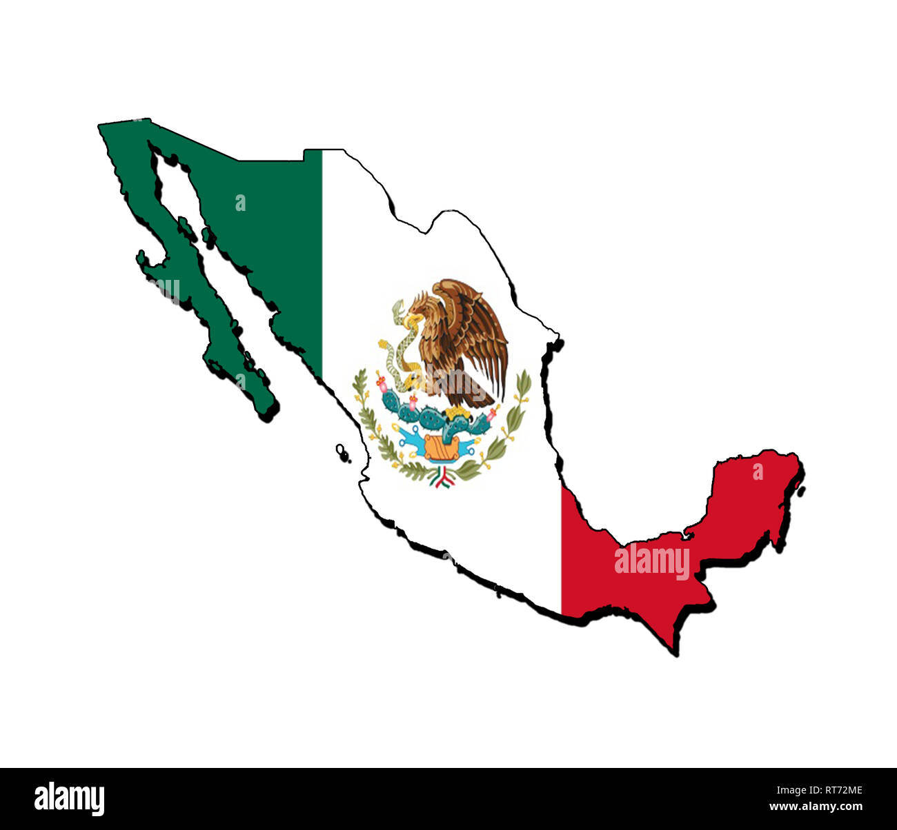 Silhouette of the map of Mexico with its flag - Stock Image