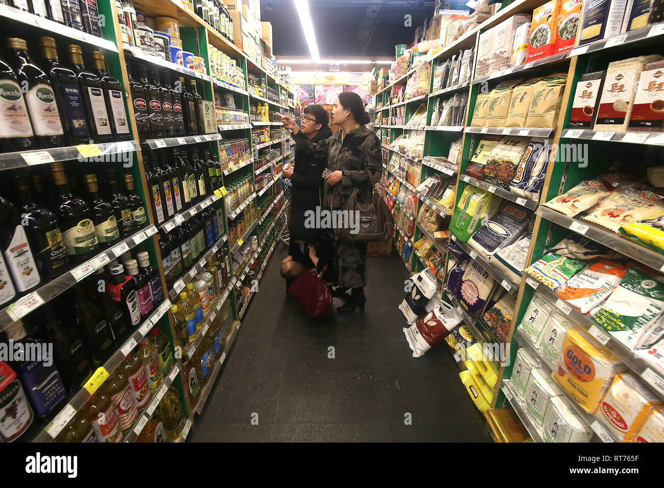 Beijing, China. 27th Nov, 2018. 'Made In U.S.A' and American brands and products are sold at an upscale supermarket in Beijing on November 27, 2018. U.S. President Donald Trump warned it's 'highly unlikely' that he would delay an increase in tariffs from 10 percent to 25 percent on January 1, just four days before a summit with Chinese President Xi Jinping. Credit: Todd Lee/ZUMA Wire/ZUMAPRESS.com/Alamy Live News - Stock Image