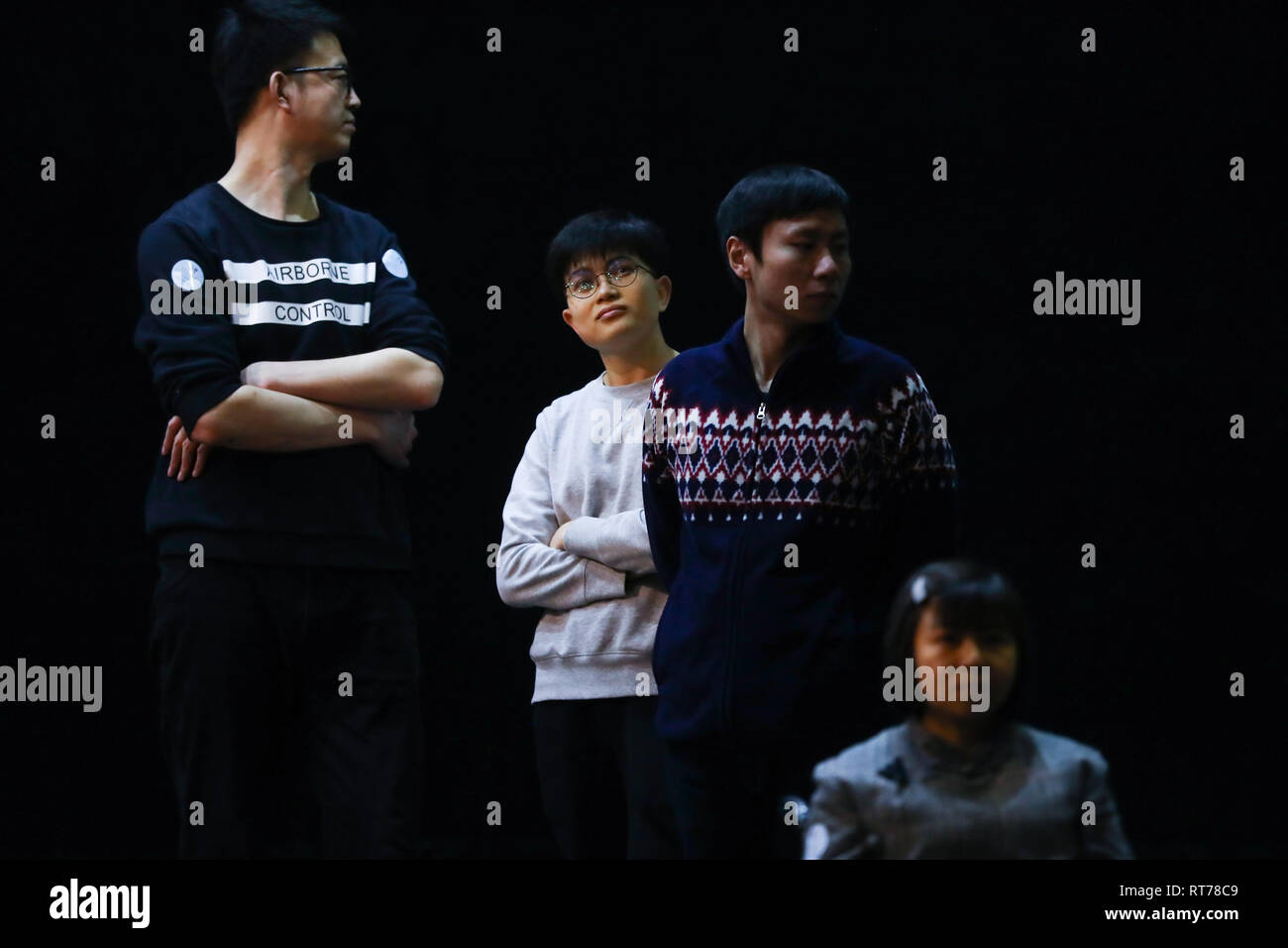 (190228) -- BEIJING, Feb. 28, 2019 (Xinhua) -- Rare disease patients rehearse during an acting workshop for 'Rare Hug', a drama on rare diseases, at Beijing Tianqiao Performance Arts Center in Beijing, capital of China, Feb. 22, 2019. 'Rare Hug,' a Chinese drama on rare diseases, was staged at the Beijing Tianqiao Performing Arts Center Wednesday evening to mark the 12th Rare Disease Day, which falls on Feb. 28, 2019 under the theme 'Bridging Health and Social Care.'     The drama was played by rare disease patients in collaboration with their relatives. Assisted by two volunteer directors, th - Stock Image