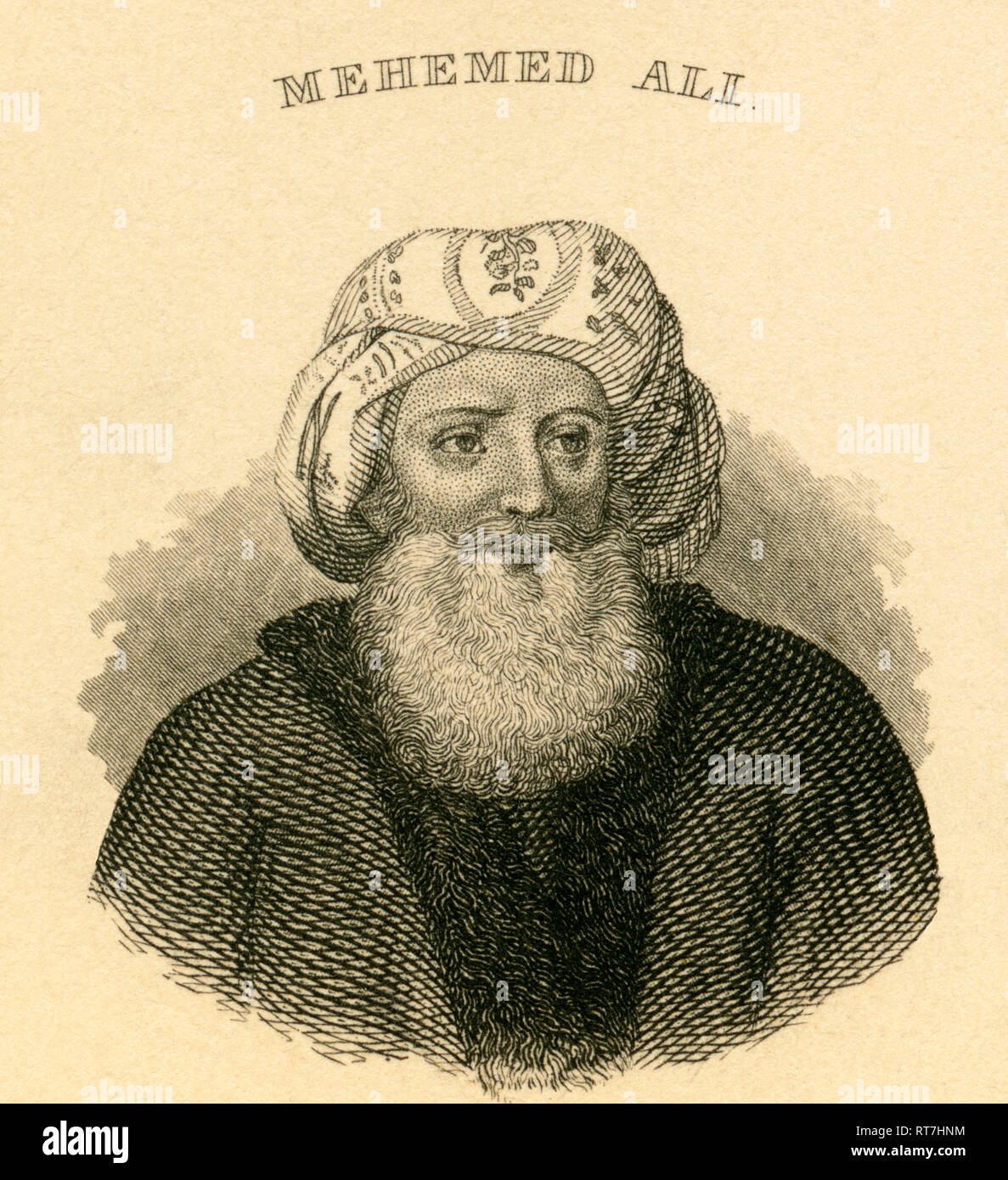 Mehemed Ali, Ottoman commander in the Ottoman army, steel engraving from Carl Mayer / Nürnberg, published by C. A. Hartleben in Pesth, about 1850., Artist's Copyright has not to be cleared - Stock Image