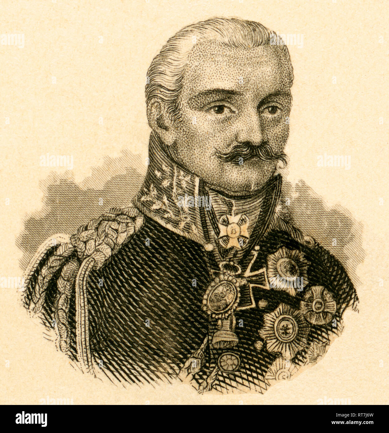 Gebhard Leberecht von Blücher, Prussian general field marshall, steel engraving by Carl Mayer / Nürnberg, published by C. A. Hartleben, Pesth, about 1850., Artist's Copyright has not to be cleared - Stock Image