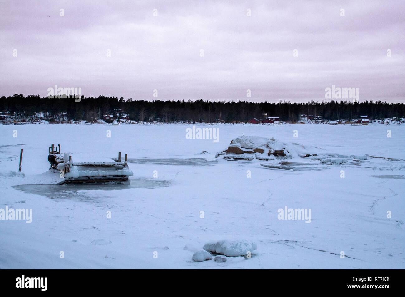 Winter landscape in the Stockholm Archipelago, Sweden - Stock Image