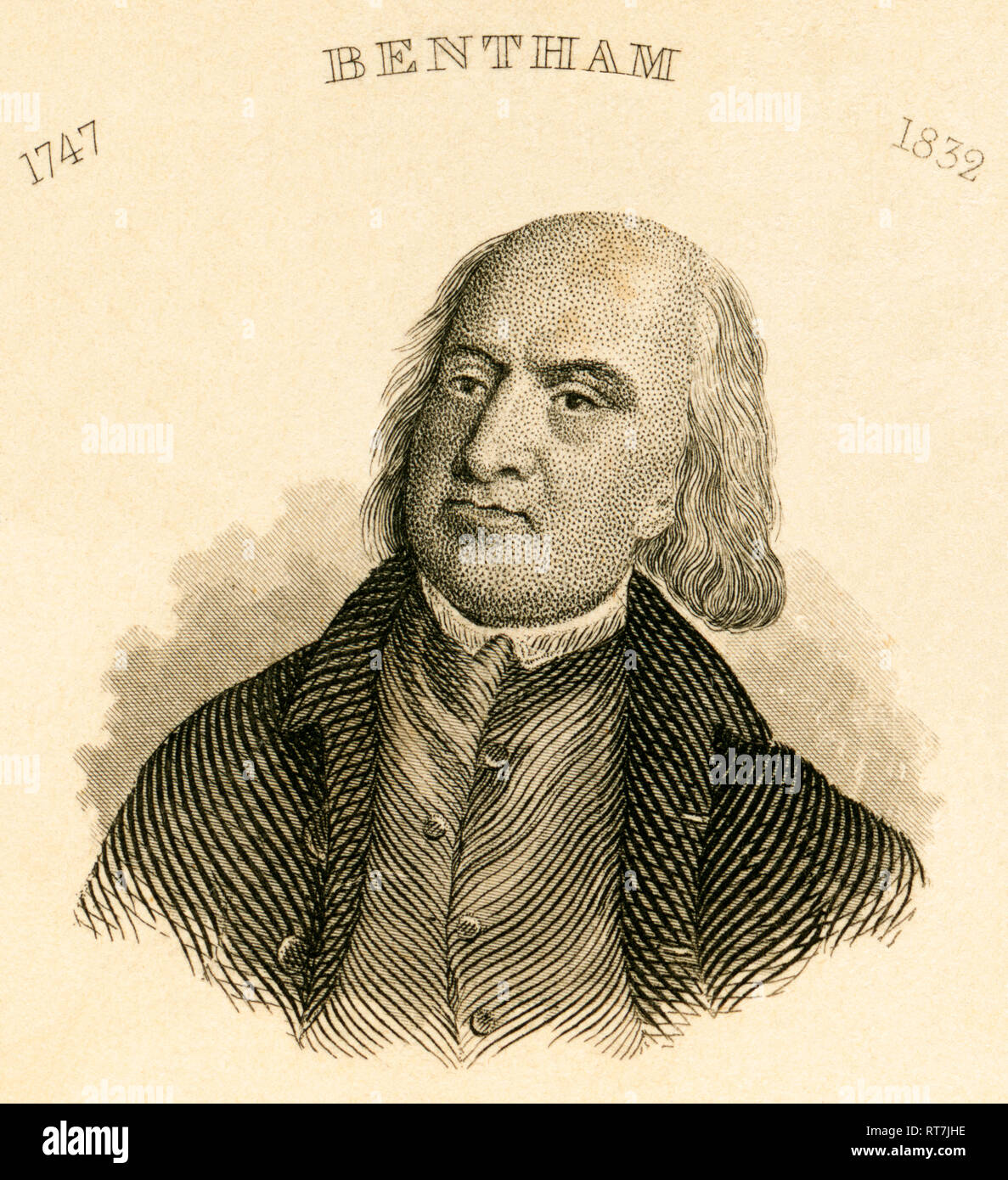 Jeremy Bentham, English philosopher and jurist, steel engraving by Carl Mayer / Nürnberg, published by C. A. Hartleben, about 1850., Artist's Copyright has not to be cleared - Stock Image