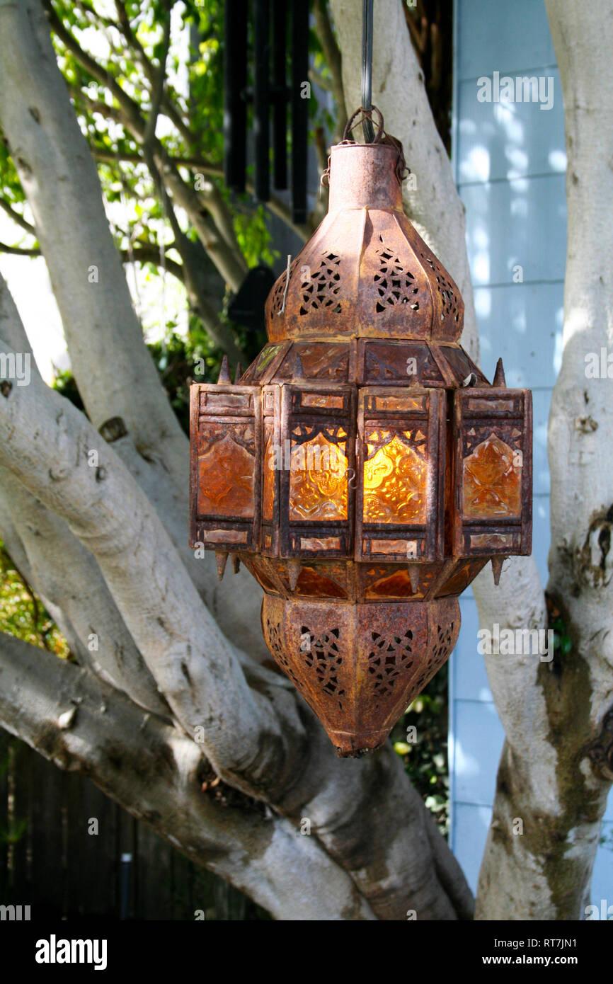 Pretty rustic lantern in California - Stock Image