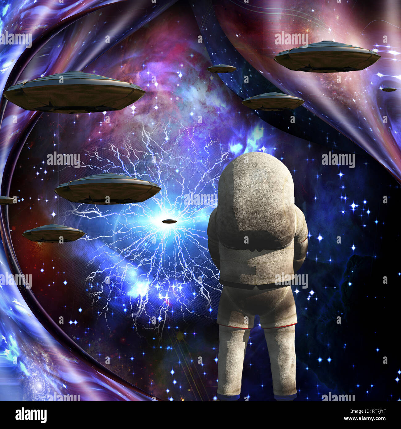Flying saucers in deep space. Astronaut. Warped space. - Stock Image