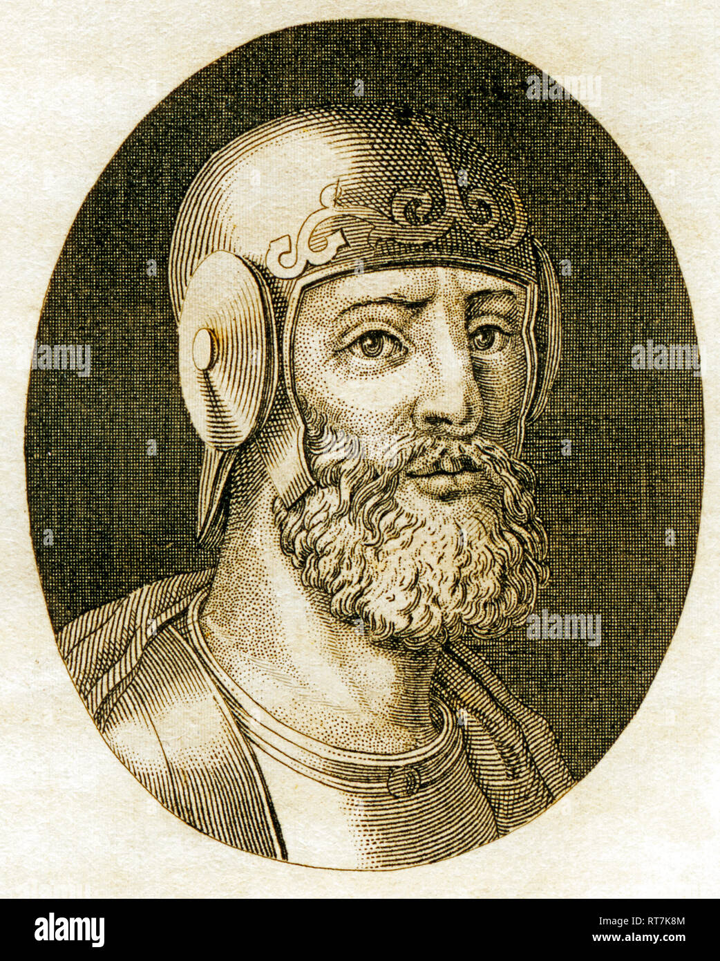 Belisarius, general of the Byzantine Empire, strategist of the Emperor Justinian, copperplate engraving from Strahlheim, about 1840., Artist's Copyright has not to be cleared - Stock Image