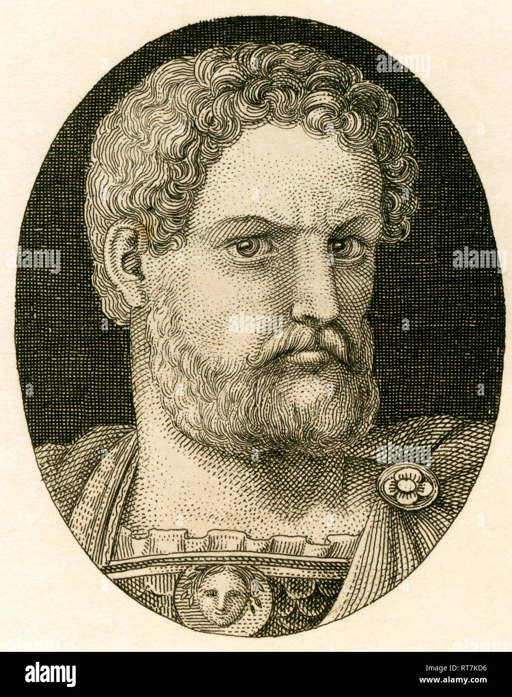 Hadrian, Roman emperor, copperplate engraving from Strahlheim, about 1840th., Artist's Copyright has not to be cleared - Stock Image