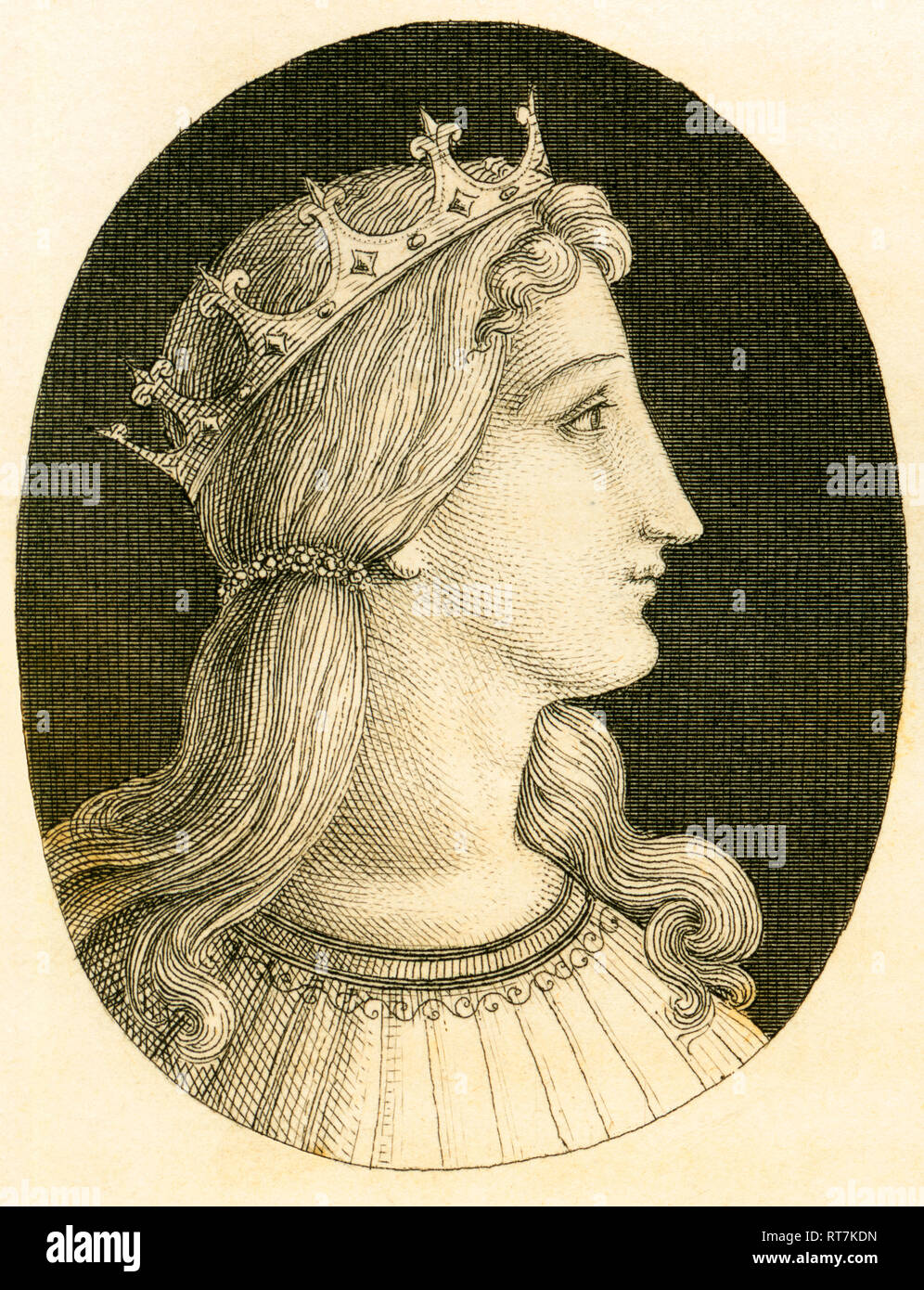 Irene of Athens, Byzantine empress, copperplate engraving from Strahlheim, about 1840th., Artist's Copyright has not to be cleared - Stock Image
