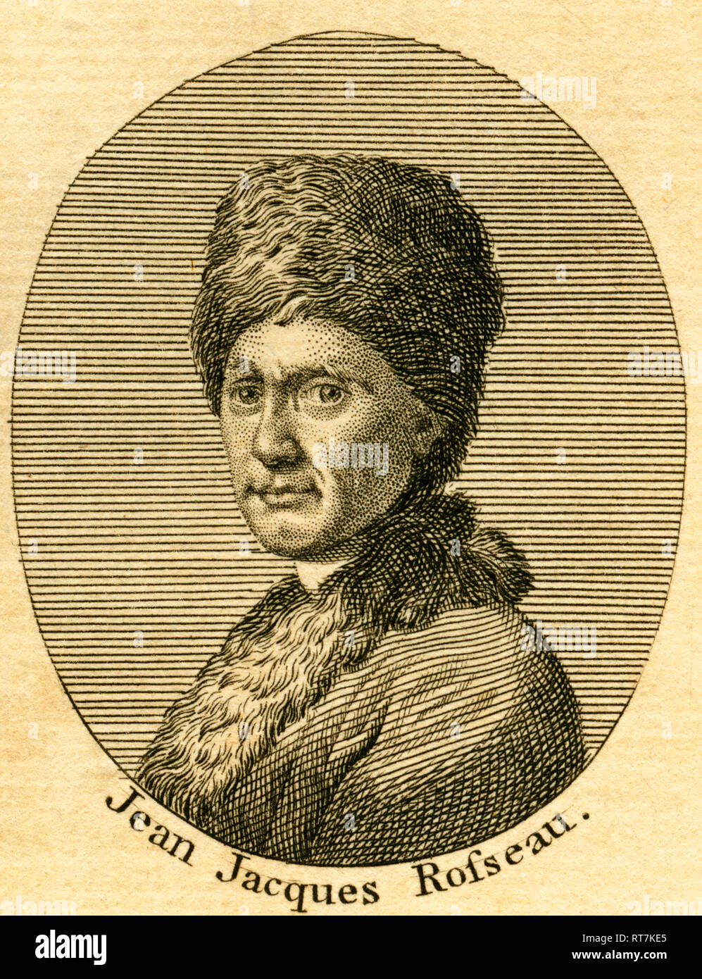 Jean Jacques Rousseau, Genevan / French philosopher and writer, 18th century, etching from an book of the 18th century, about 1766., Additional-Rights-Clearance-Info-Not-Available - Stock Image