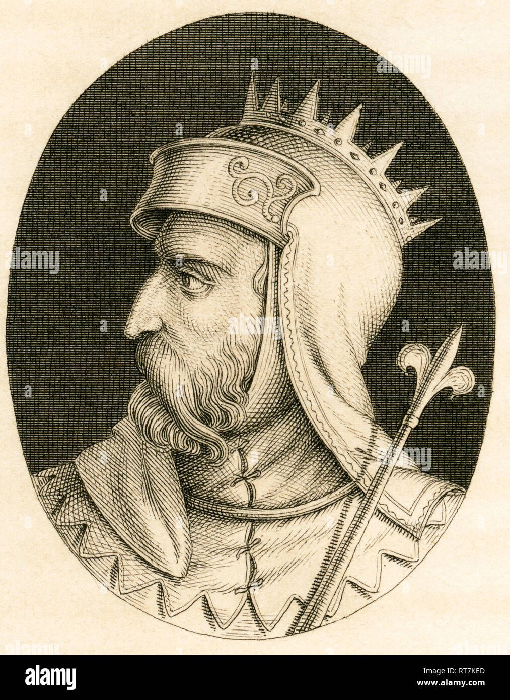 Pepin, Carolingian dynasty, copperplate engraving from Stahlheim, about 1840th., Artist's Copyright has not to be cleared - Stock Image