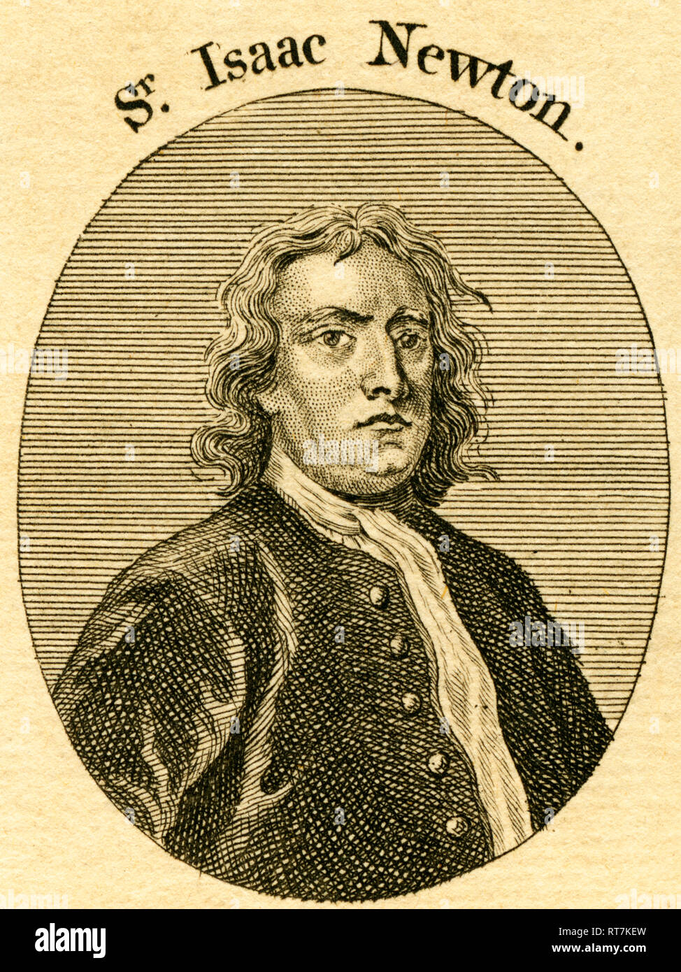 Sir Isaac Newton, English natural philosopher, etching from an book of the 18th century (1766)., Additional-Rights-Clearance-Info-Not-Available - Stock Image