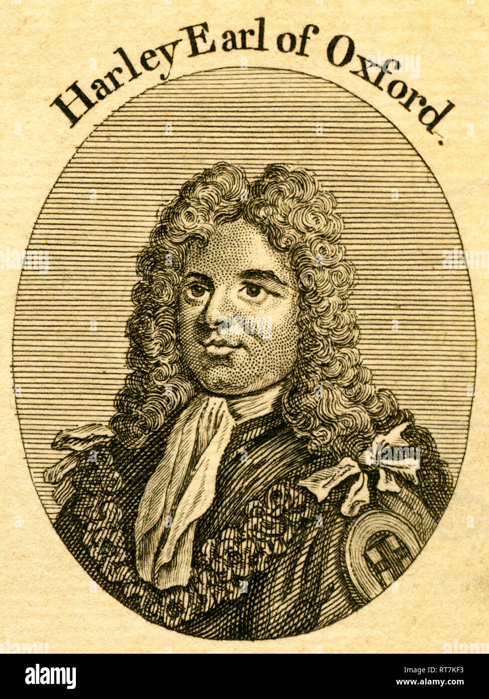Harley Earl of Oxford, British politician and statesman, etching from an book of the 18th century (1766), Additional-Rights-Clearance-Info-Not-Available - Stock Image