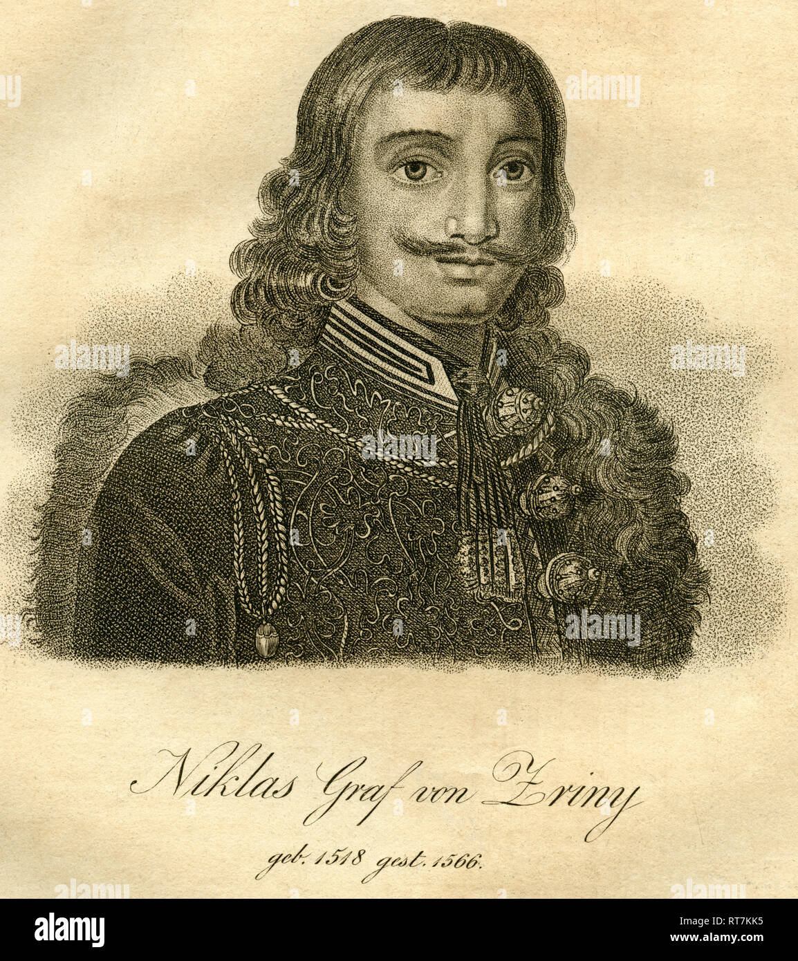 Niklas Count of Zriny, portrait, Croatian-Hungarian nobility, copperplate engraving on handmade paper, about 1750., Artist's Copyright has not to be cleared - Stock Image