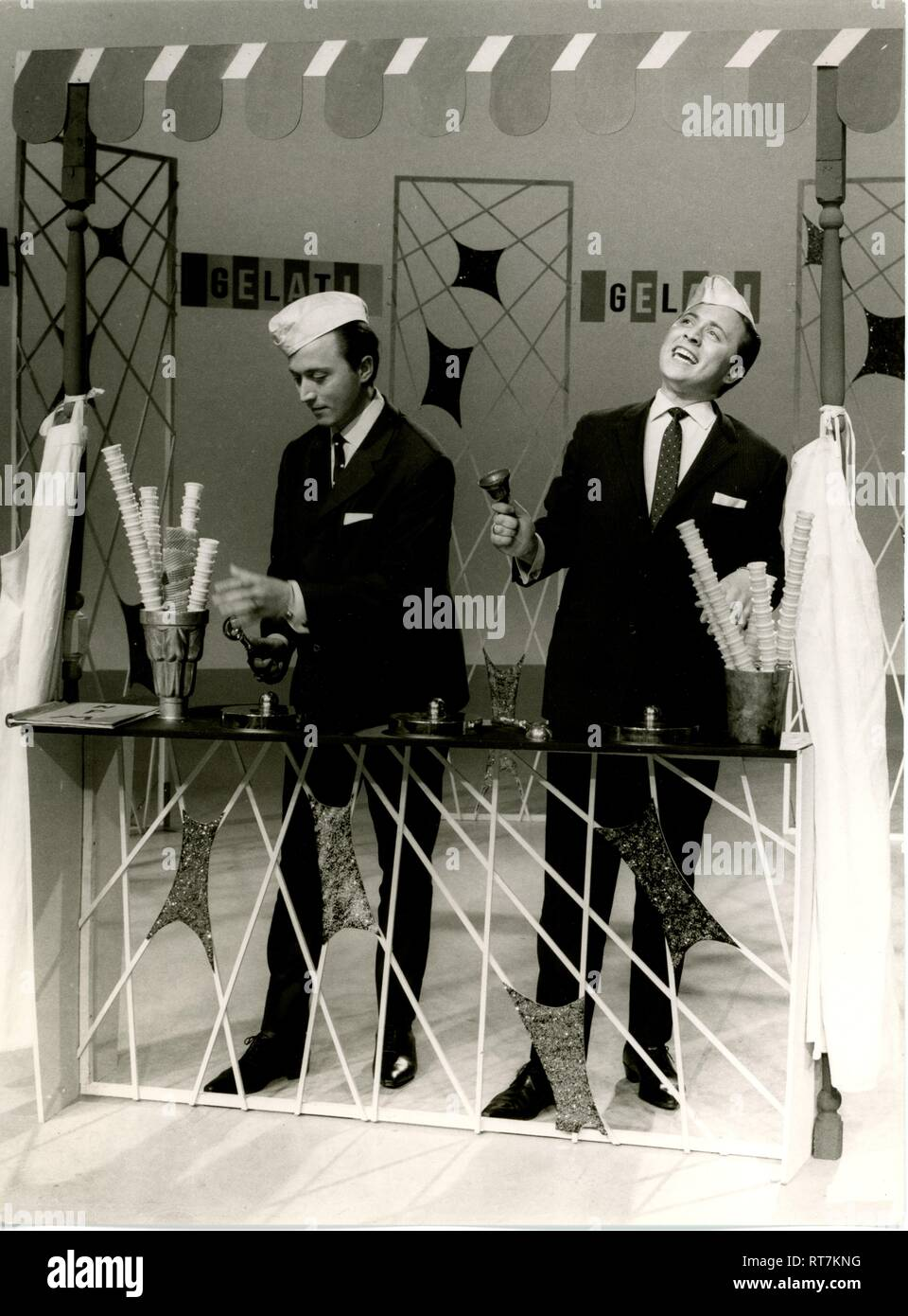 Stefano Twins, musicians (pop song), birth name: Bruno and Viktor di Stefano (* 25.9.1938), doing stage performance as icemen, 1960s, Additional-Rights-Clearance-Info-Not-Available - Stock Image