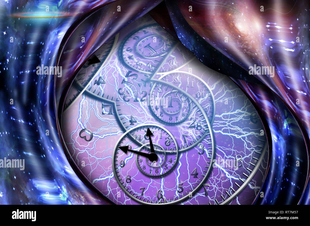 Surrealism. Spirals of time and warped space. - Stock Image