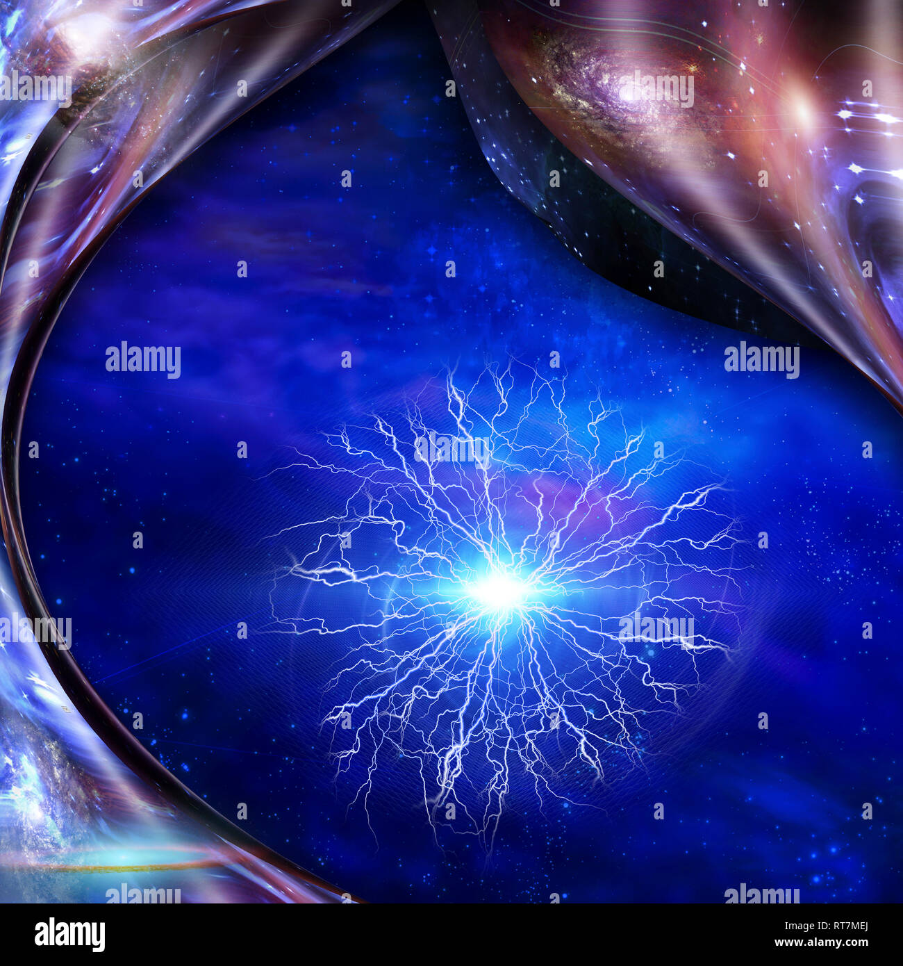 Abstraction. Bunch of lightnings. Energy in warped space - Stock Image