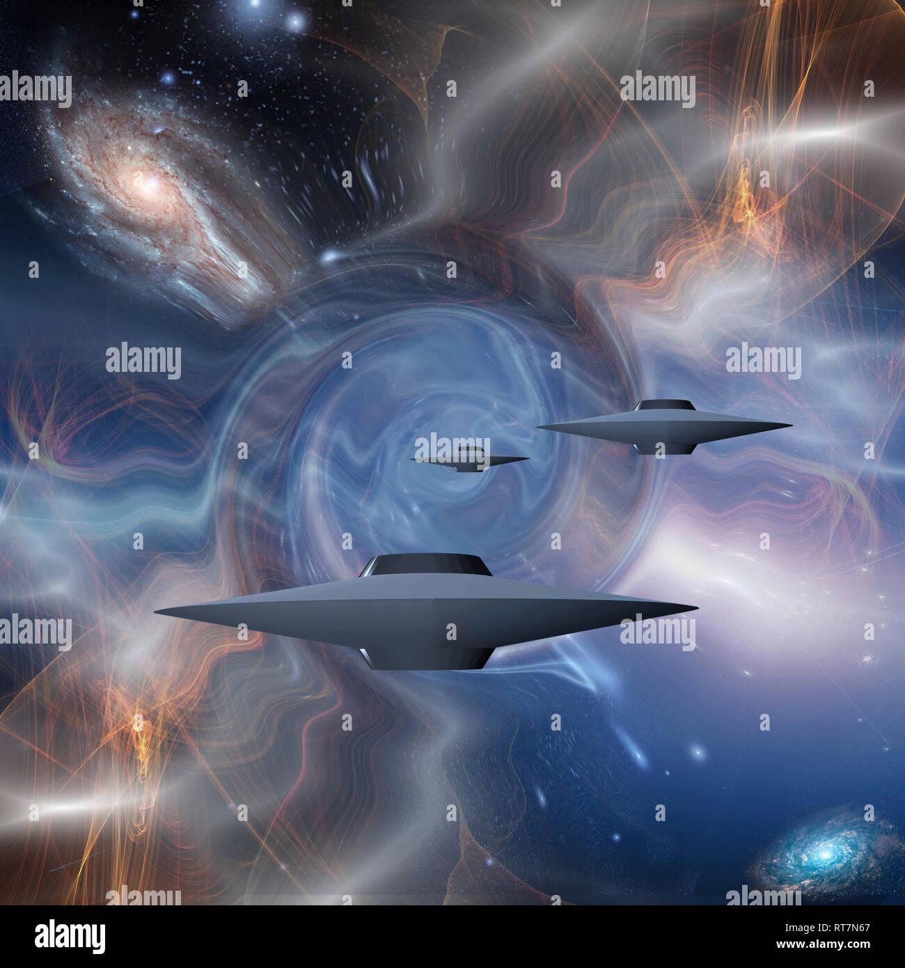 Surreal digital art. Flying saucers in warped space. 3D rendering. - Stock Image