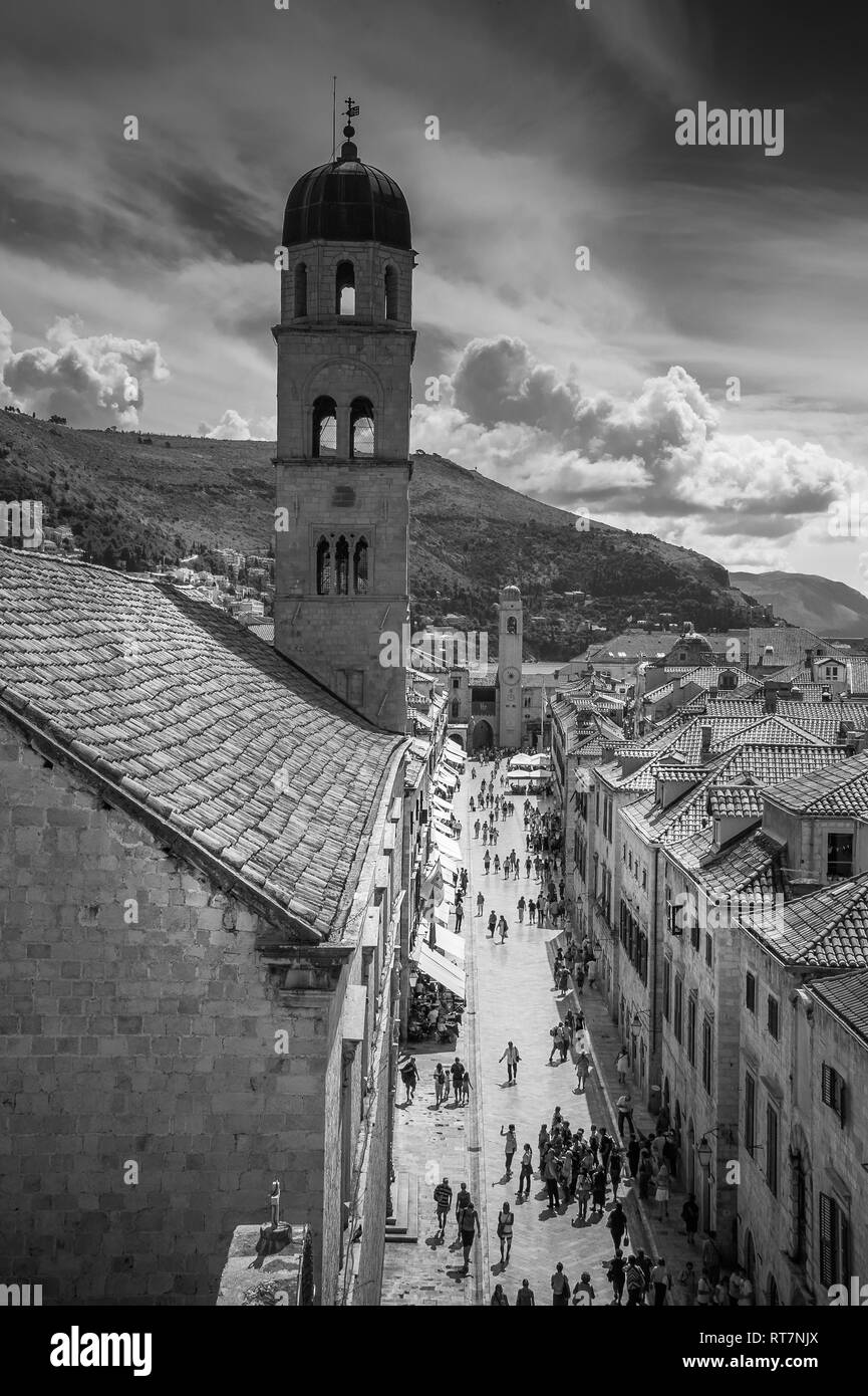 Main street old city  Dubrovnik, Croatia - black and white - Stock Image