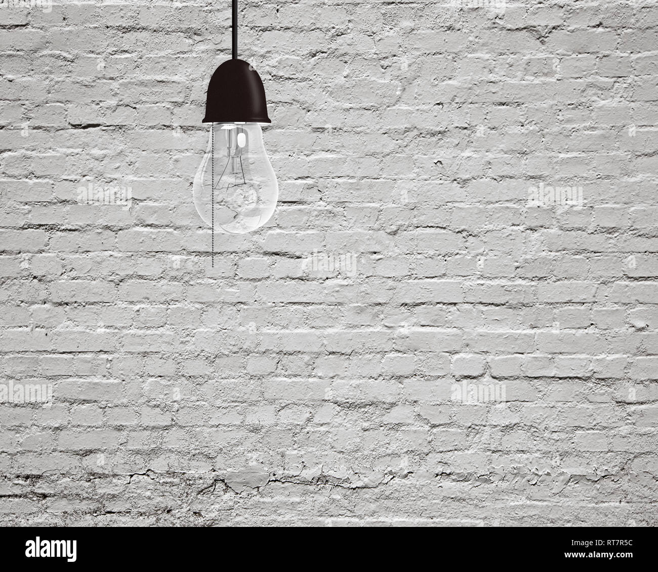Hanging Light Bulb With Old White Bricks Wall Background Stock Photo Alamy