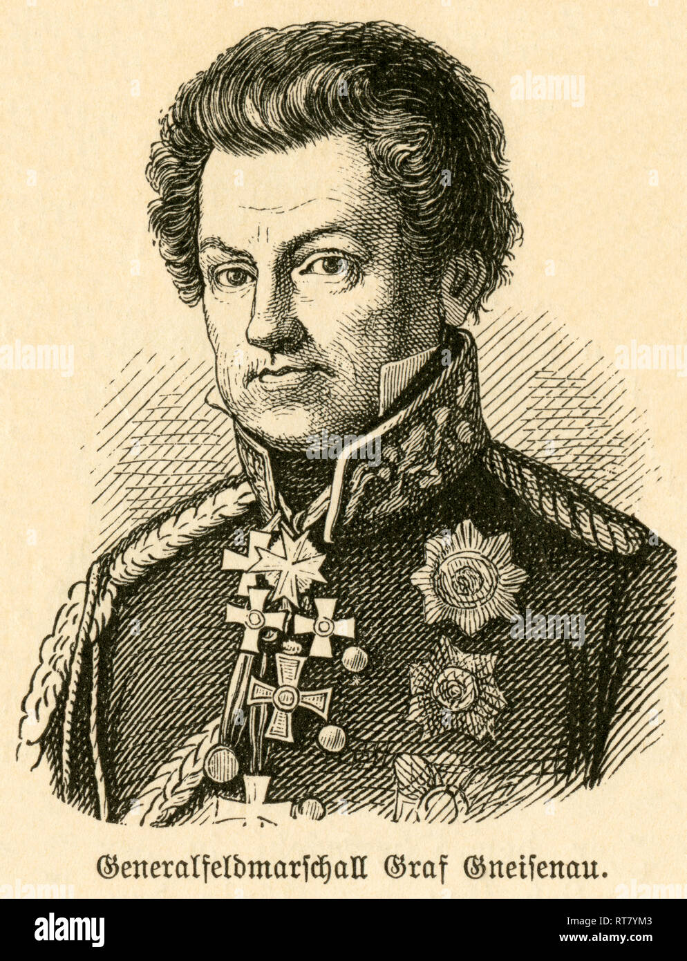 August Neidhardt von Gneisenau, Prussian field marshal, portrait from: 'Deutschlands Heerführer' (German military leader), 1640-1894, portrayed by Sprößer, publishing house Hirt and son, Leipzig, 1895., Additional-Rights-Clearance-Info-Not-Available - Stock Image