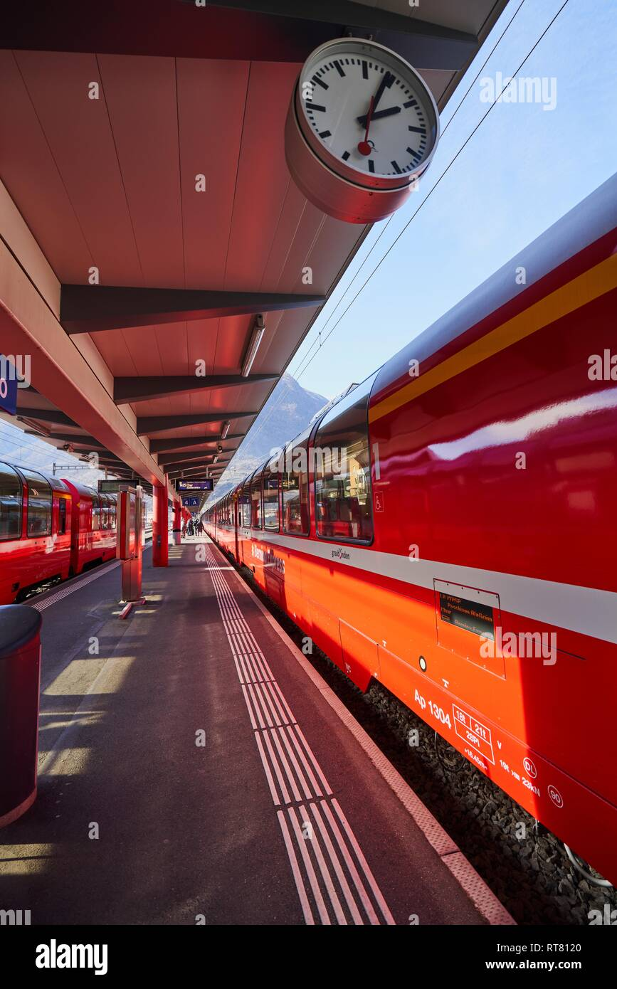 The Bernina Express Red Train through the Alps - Stock Image