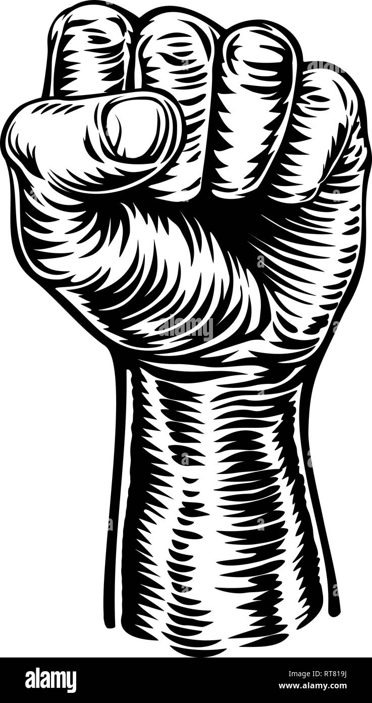 Retro Revolution Hand Fist Raised Air Propaganda - Stock Image
