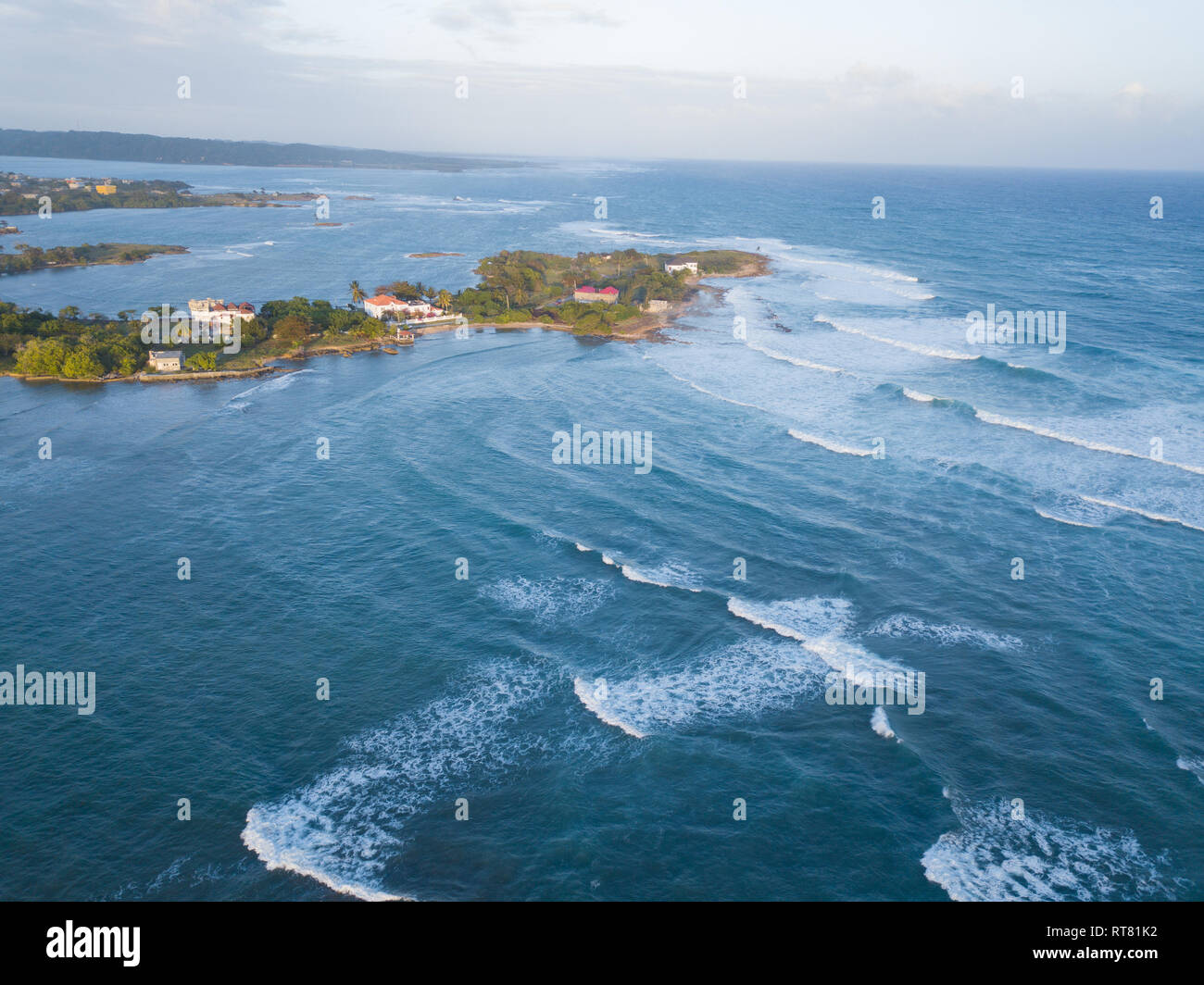Aerial Drone shot of Jamaica, showing the Caribbean sea and coastline from above. - Stock Image
