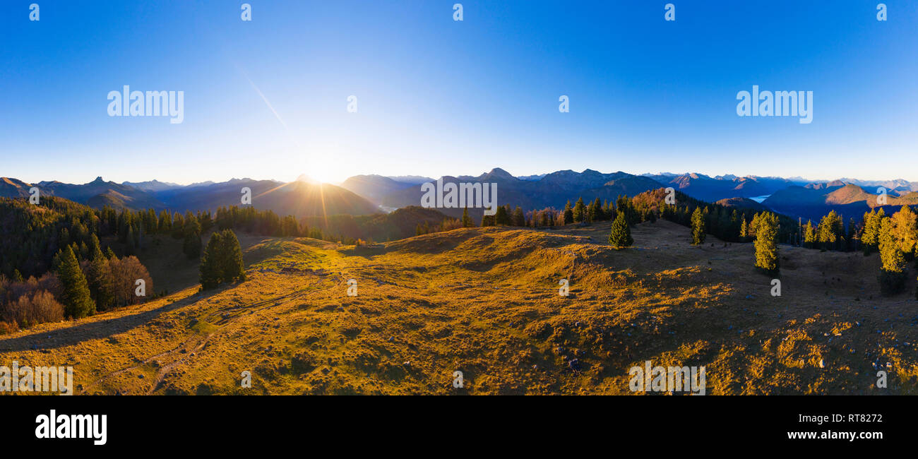 Germany, Bavaria, Bavarian Alps, Lenggries, Isarwinkel, view from high alp at sunrise, aerial view with drone - Stock Image