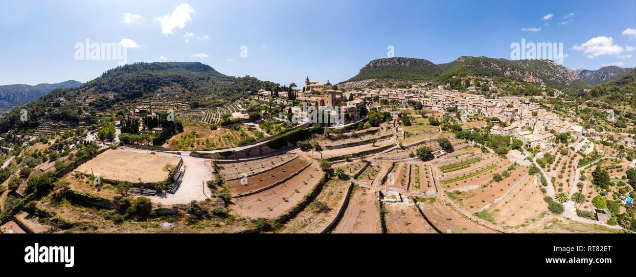 Spain, Baleares, Mallorca, Valldemossa, Parish Church Sant Baromeu and Cartuja de Valldemosa Stock Photo