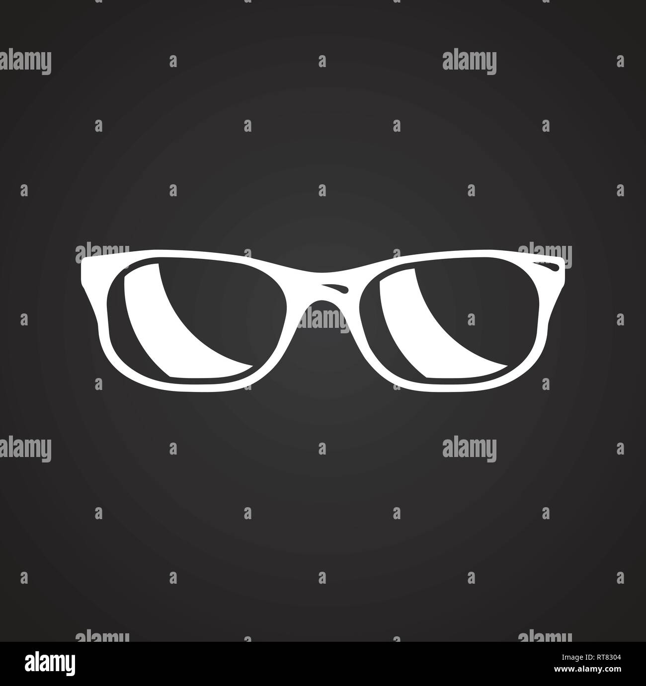 Glasses icon on black background for graphic and web design, Modern simple vector sign. Internet concept. Trendy symbol for website design web button or mobile app. - Stock Vector