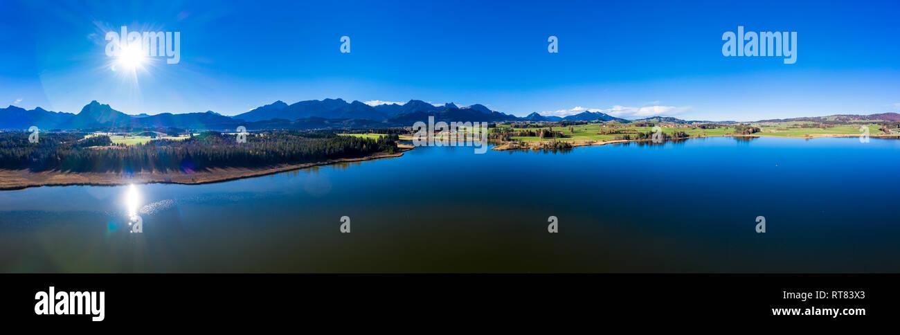 Germany, Bavaria, East Allgaeu, Fuessen region, Hopfen am See, Aerial view of Hopfensee - Stock Image