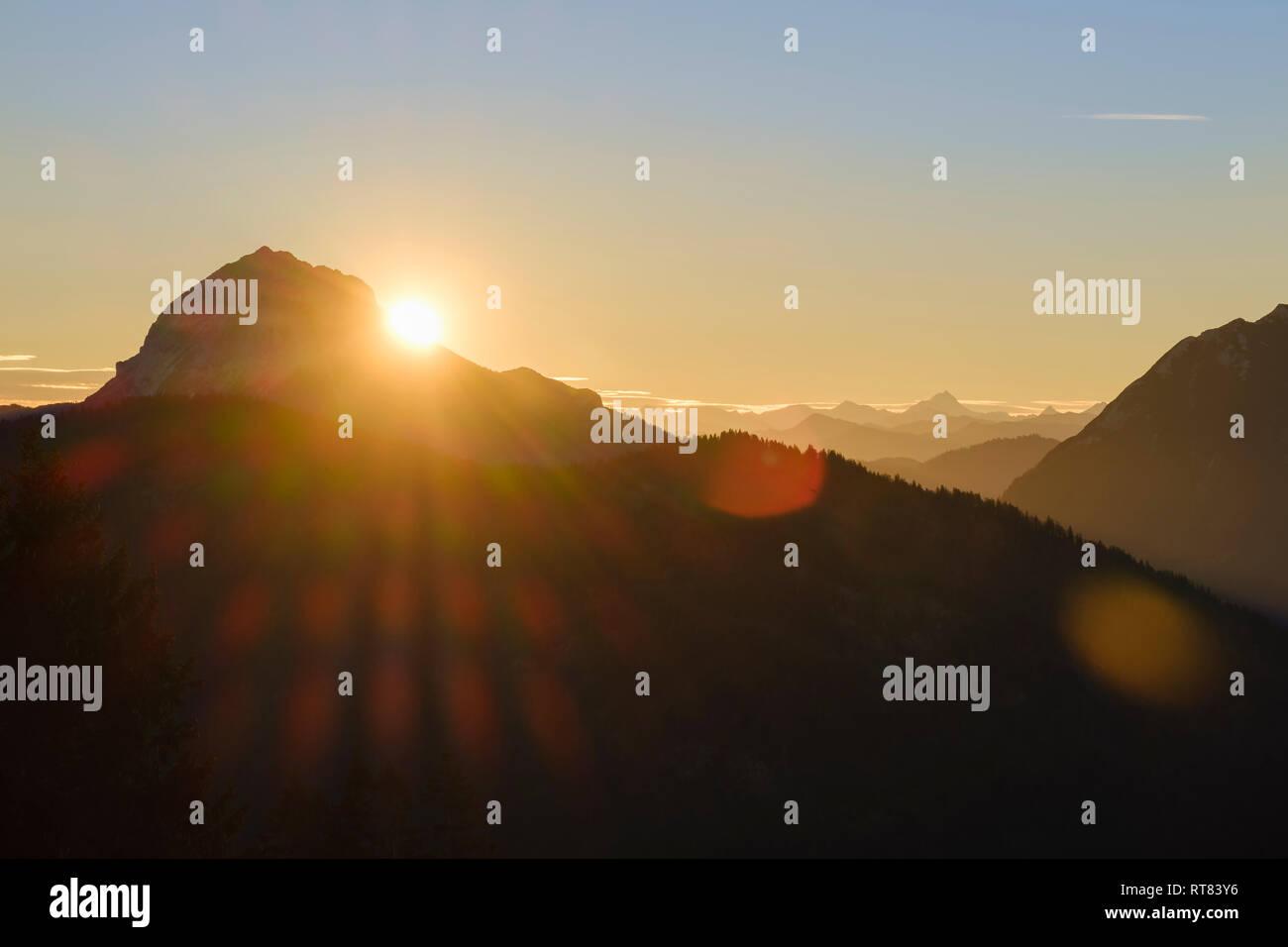 Germany, Bavaria, Lenggries, Isarwinkel, Bavarian Alps, view from high alp towards Guffert at sunrise Stock Photo