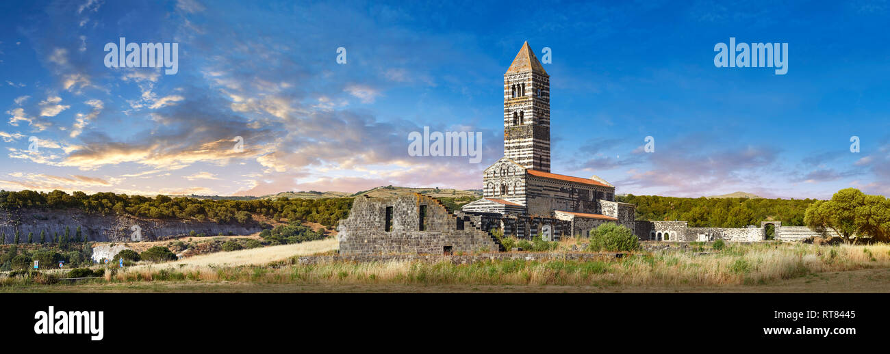Picture and image of the exterior of the Tuscan Romanesque Pisan style basilica of Santissima Trinita di Saccargia, consecrated 1116, Codrongianos, Sa - Stock Image