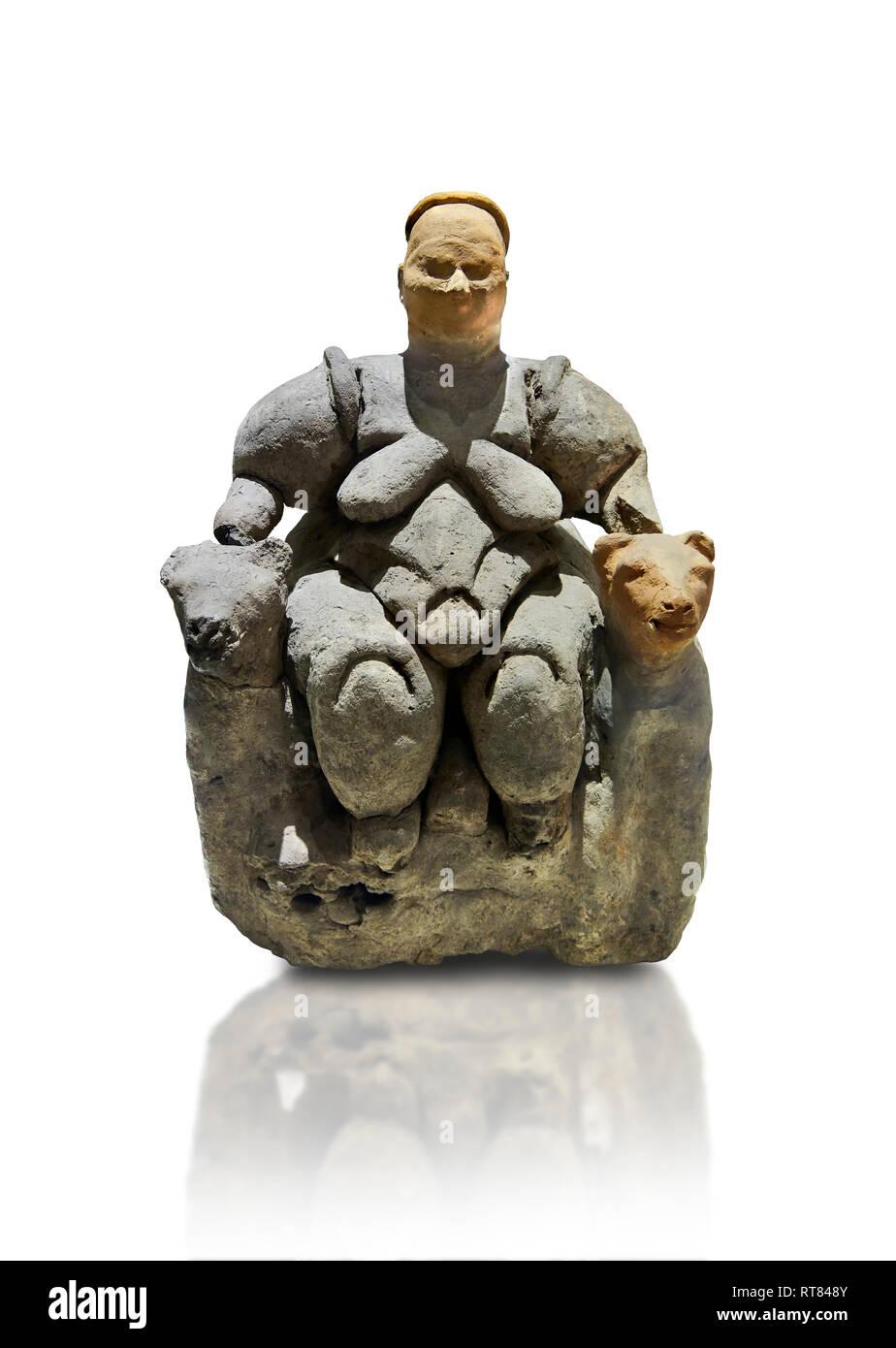 Neolithic Terracotta Goddess figure from Catalhoyuk, Museum of Anatolian Civilisations, Ankara, Turkey - Stock Image