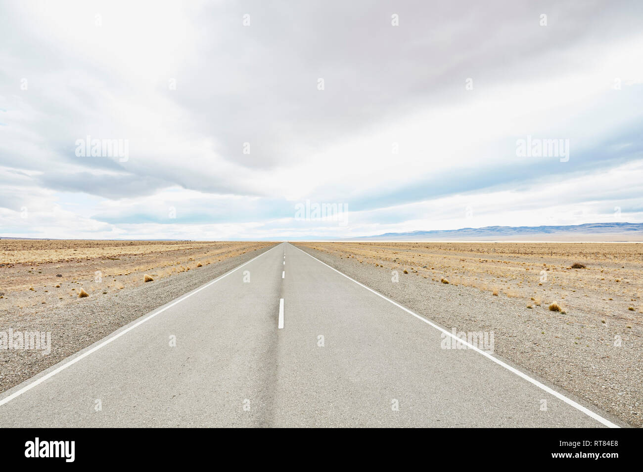 Argentina, Rio Chico, Ruta 40 road through Patagonian steppe - Stock Image