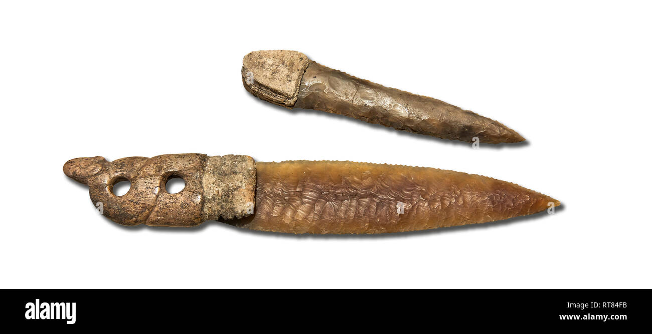 Brown obsidian dagger with a bone handle carved into the shape of a snake. It is believed this may have been a ritual dagger. Catalhoyuk Collections.  - Stock Image