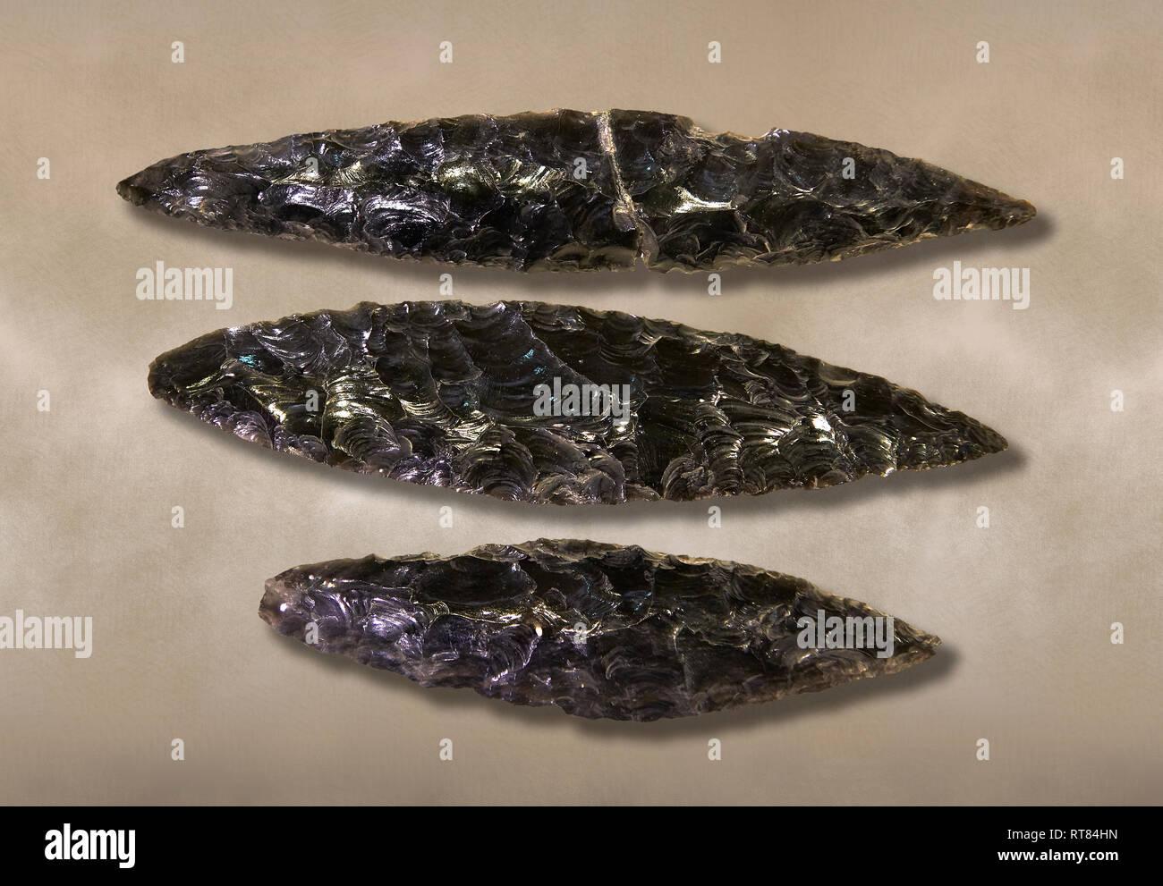 Black obsidian blades. Catalhoyuk Collections. Museum of Anatolian Civilisations, Ankara - Stock Image
