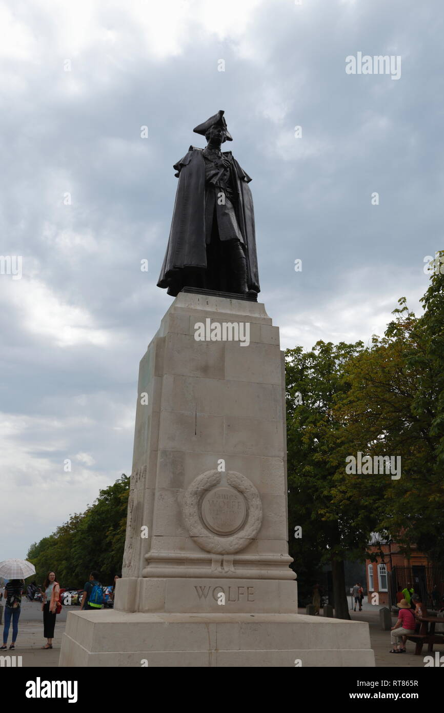 A bronze statue of James Wolfe, the Victor of Quebec, stands in Greenwich in London, United Kingdom. - Stock Image
