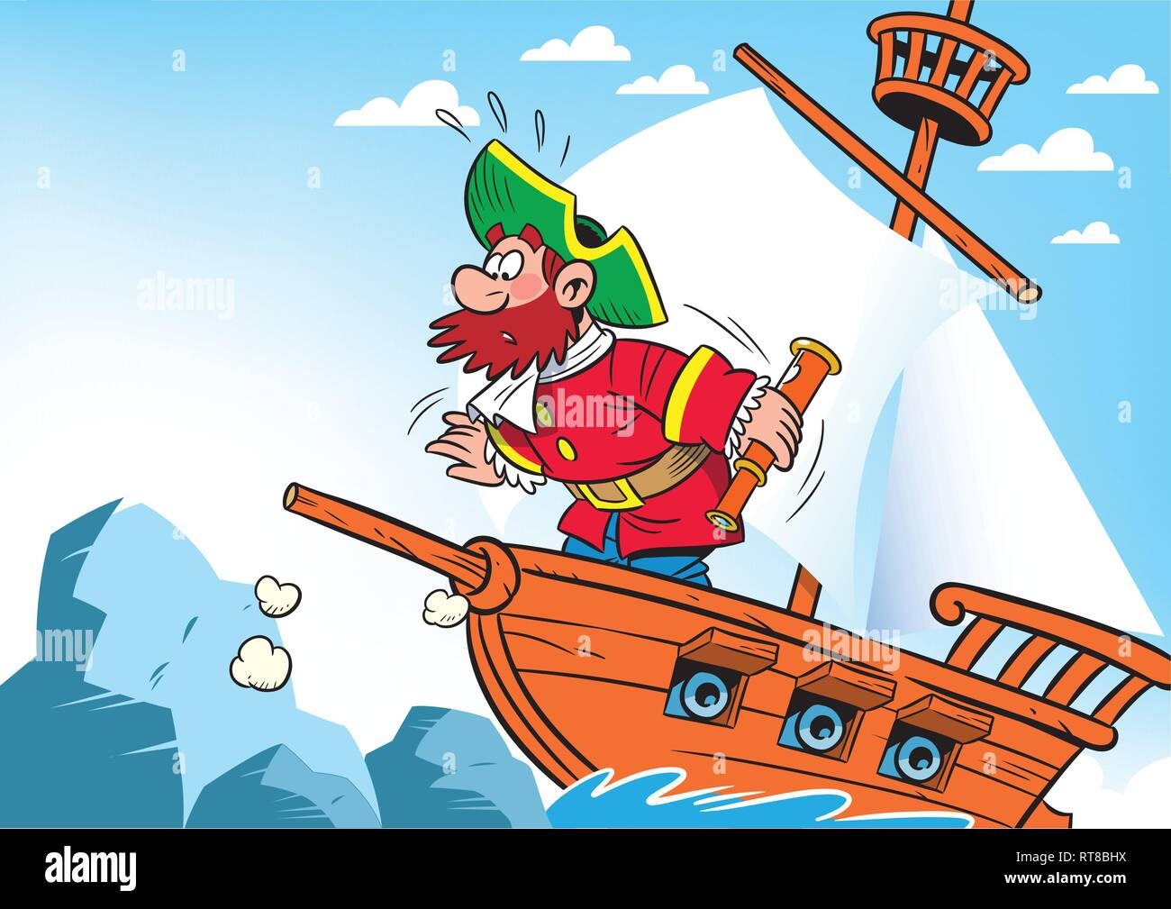 cartoon ship high resolution stock photography and images alamy https www alamy com the illustration shows cartoon the captain on the ship which crashed into the reef image238671270 html