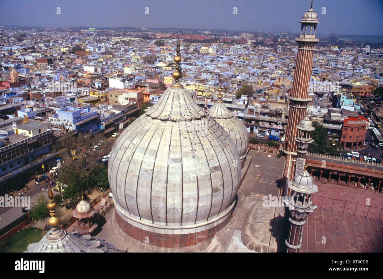 View overlooking Old Delhi formThe Masjid-i Jahān-Numā, Jama Masjid, Friday Mosque, built by, Mughal Emperor, Shah Jahan, 1644 and 1656, Delhi, India, - Stock Image