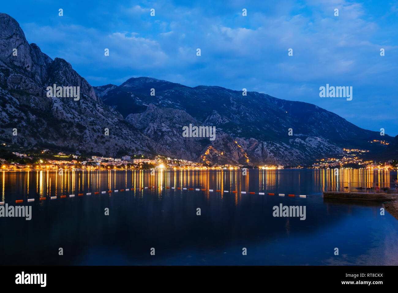 Montenegro, Bay of Kotor, Dobrota and Kotor at blue hour - Stock Image