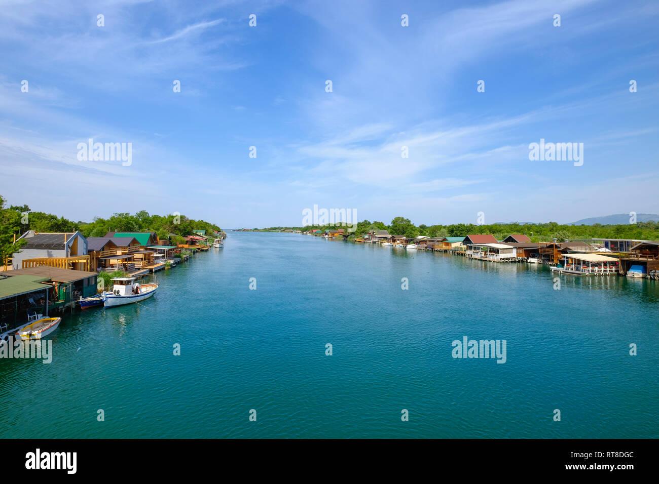Montenegro, Bojana river near Ulcinj Stock Photo
