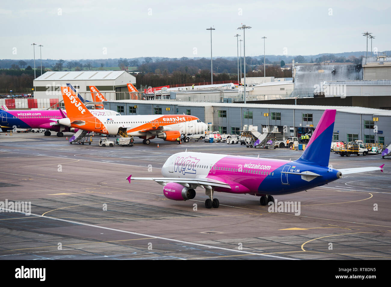 Wizz Air aeroplane preparing to taxi at Luton airport, England. - Stock Image