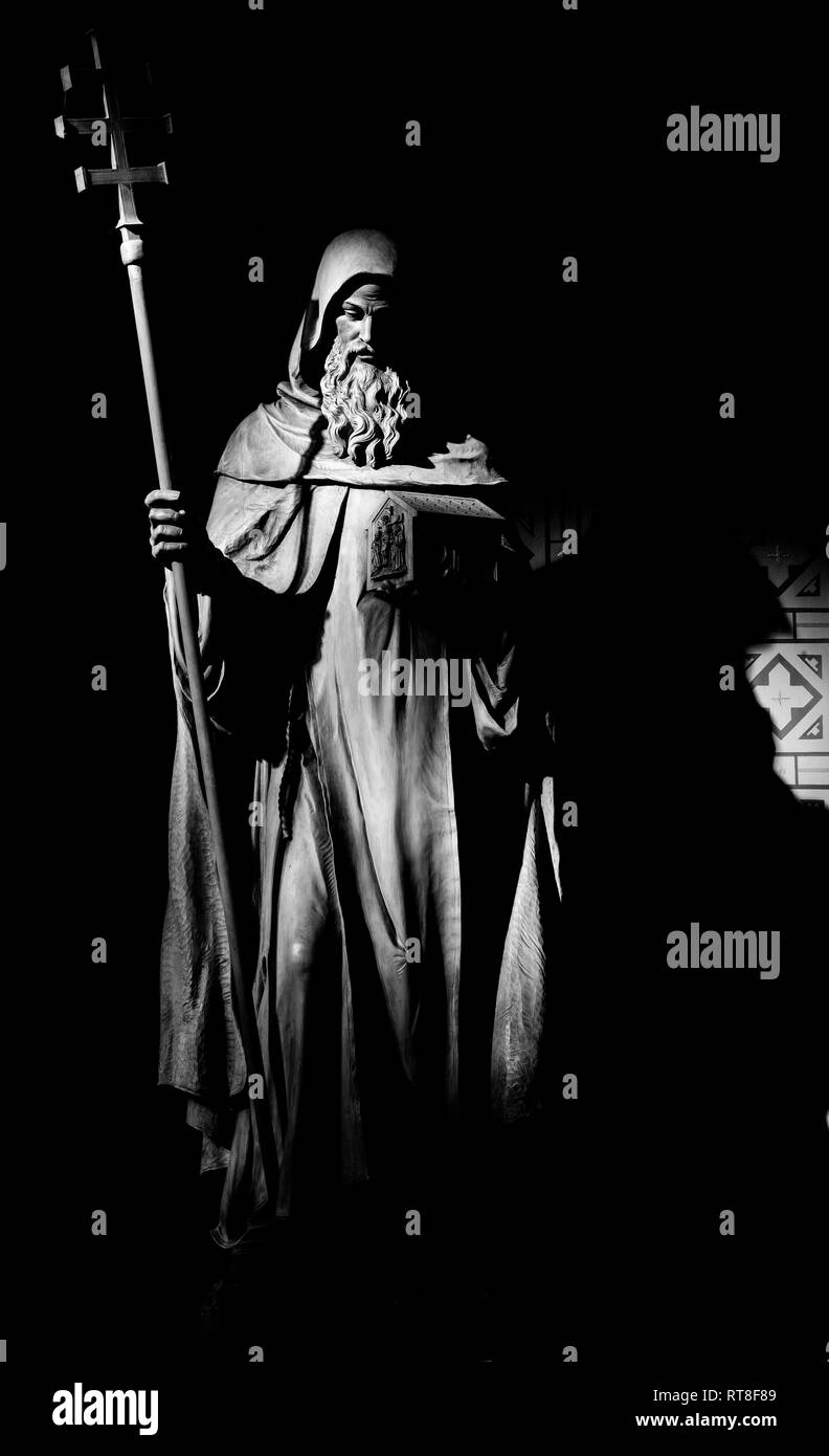 PRAGUE, CZECH REPUBLIC - OCTOBER 17, 2018: The carved statue of Saint Cyril in church Svatého Cyrila Metodeje by Bretislav Kafka (1891 - 1967). - Stock Image