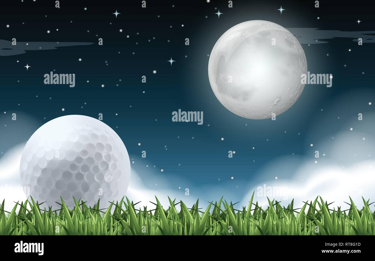 A golf field night time illustration - Stock Vector